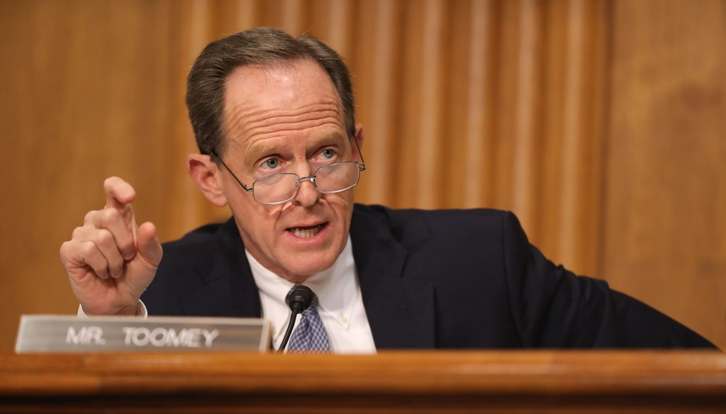 Senate Finance Committee member Sen. Pat Toomey (R-PA) questions Federal Internal Revenue Service Commissioner Charles Rettig during a hearing in the Dirksen Senate Office Building on Capitol Hill April 10, 2019 in Washington, DC. (Chip Somodevilla/Getty