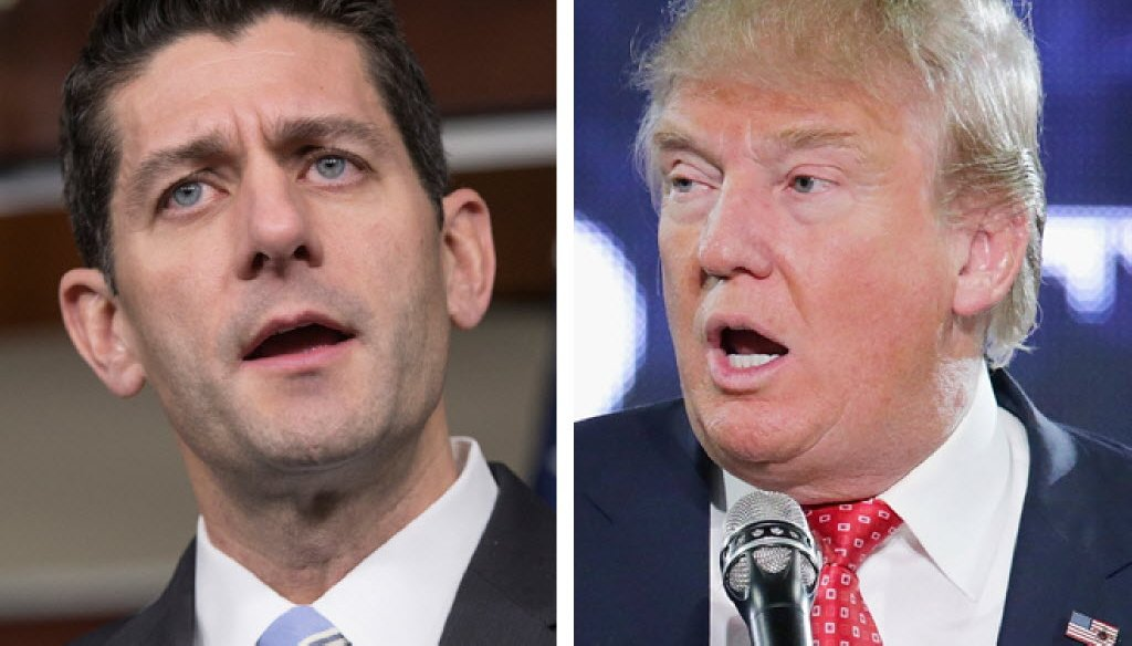 During his 2016 presidential campaign, Donald Trump (right) blamed Paul Ryan for the Republican ticket's loss in the 2012 presidential election.