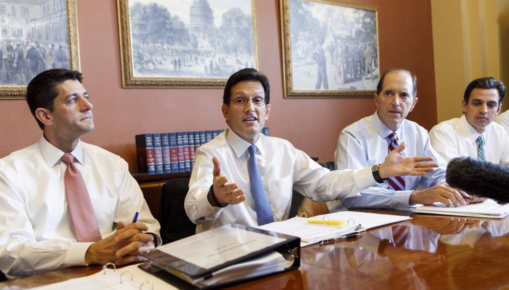 Paul Ryan (far left) met with fellow House Republicans on Oct. 1, 2013 to discuss defunding Obamacare. (AP)