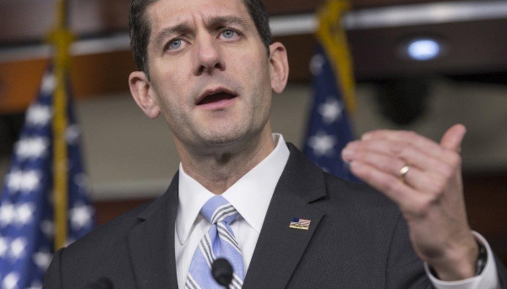 House Speaker Paul Ryan of Wisconsin talks to reporters on Capitol Hill on Jan. 7, 2016. (AP/J. Scott Applewhite)