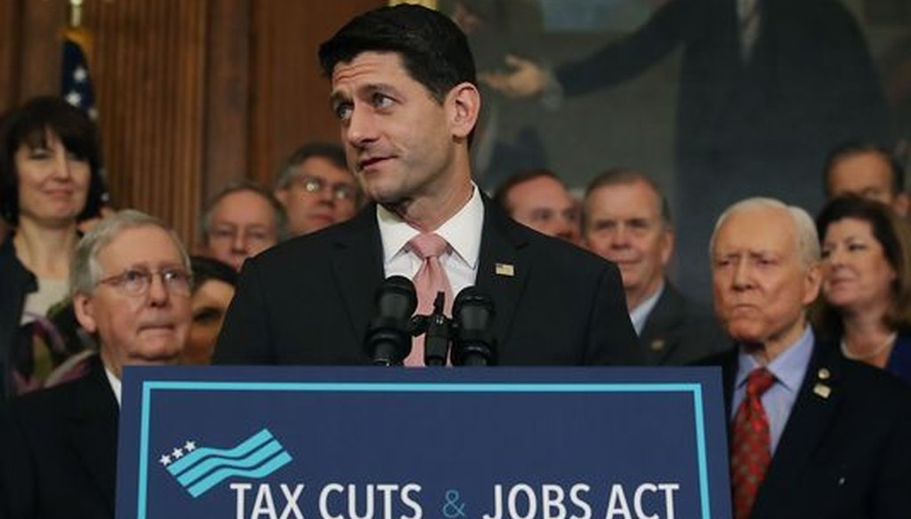 Republican U.S. House Speaker Paul Ryan warns that Democrats will take away benefits he says Americans are getting from federal tax reform approved in December 2017. (Getty Images)