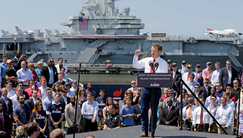 Republican Presidential candidate, Sen. Rand Paul, R-Ky., speaks at a rally at the USS Yorktown in Mount Pleasant, S.C., Thursday, April 9, 2015. (AP)