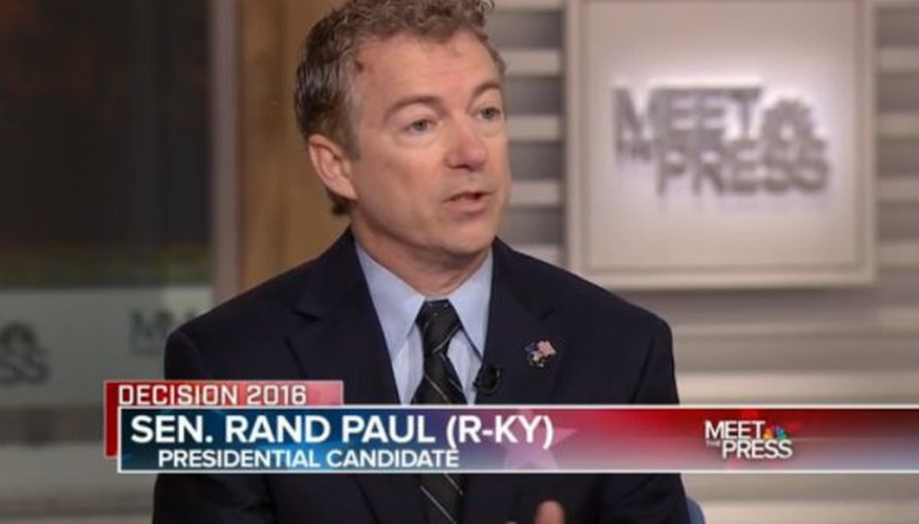 """Republican presidential candidate Rand Paul appeared on the Dec. 6, 2015, edition of NBC's """"Meet the Press."""""""