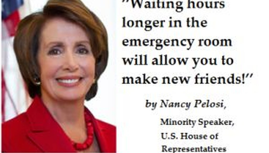 This fake Nancy Pelosi quotation came from a satire website.