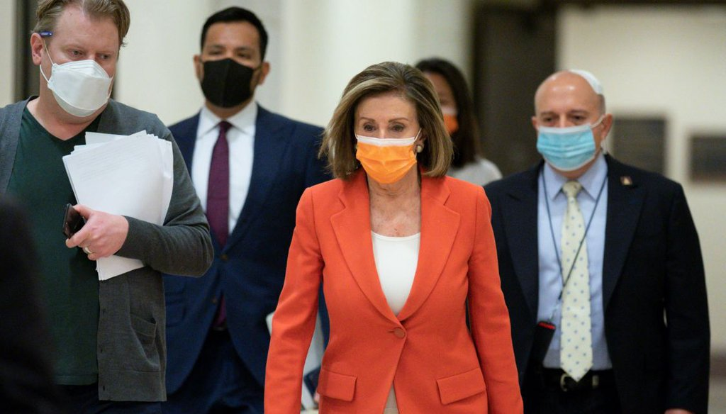 House Speaker Nancy Pelosi, D-Calif., arrives for her weekly news conference at the Capitol on March 11, 2021. (AP)