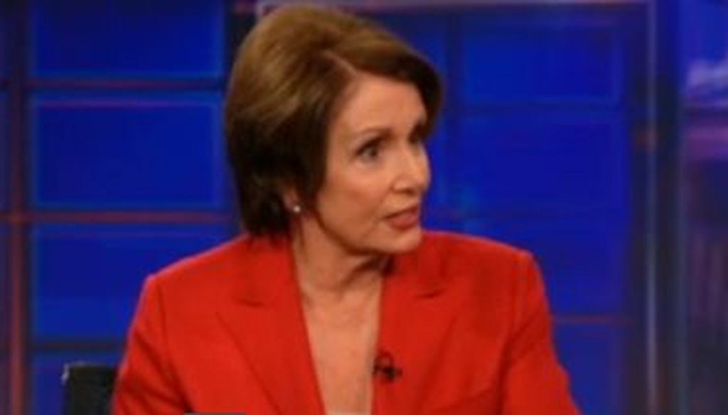 House Minority Leader Nancy Pelosi appeared as Jon Stewart's guest on The Daily Show on Nov. 9, 2011.