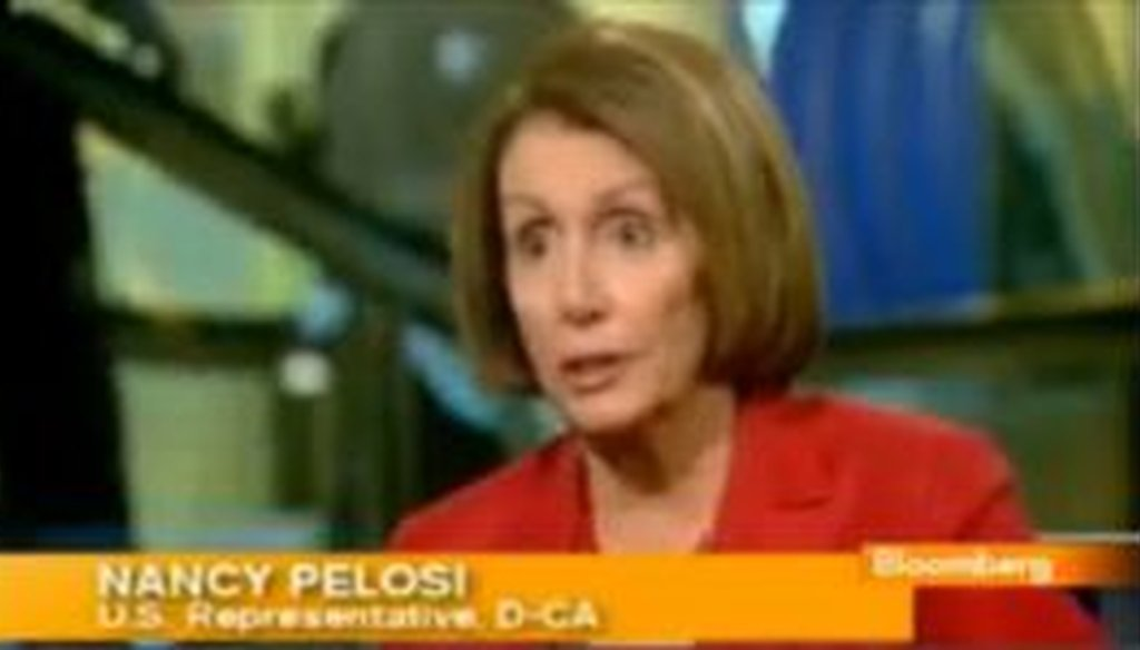 House Minority Leader Nancy Pelosi resurrected a talking point about job growth under President Barack Obama in a Bloomberg television interview. We checked her math.
