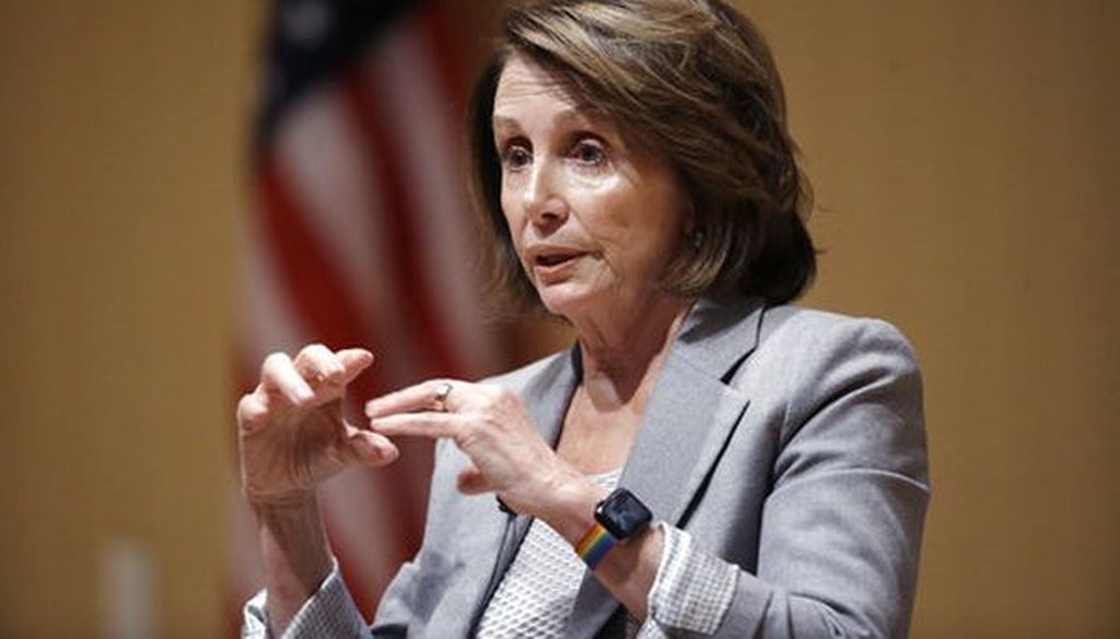 House Minority Leader Nancy Pelosi, D-Calif., discusses tax policy during a town hall-style meeting on Feb. 1, 2018, in Cambridge, Mass. (AP/Steven Senne)