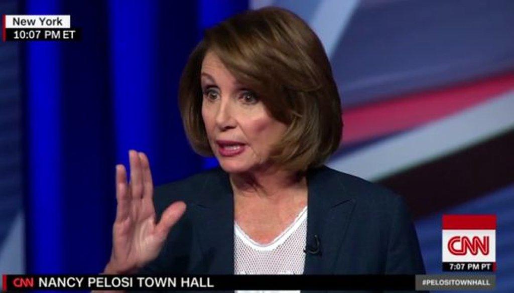 House Minority leader Nancy Pelosi sat for a town hall on CNN on Jan. 31, 2017.