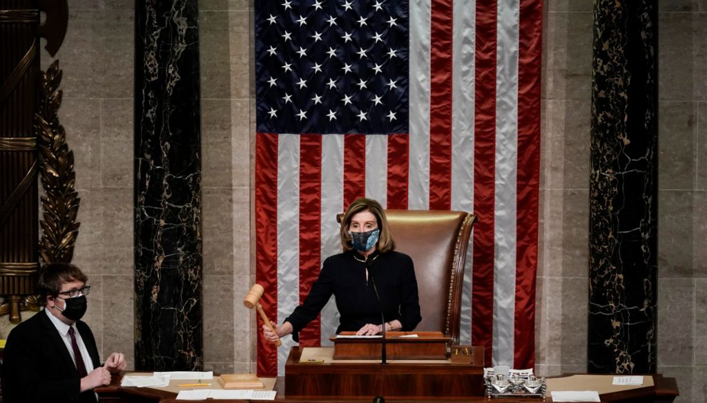 House Speaker Nancy Pelosi, D-Calif., leads the final vote of the impeachment of President Donald Trump on Jan. 13, 2021. (AP)