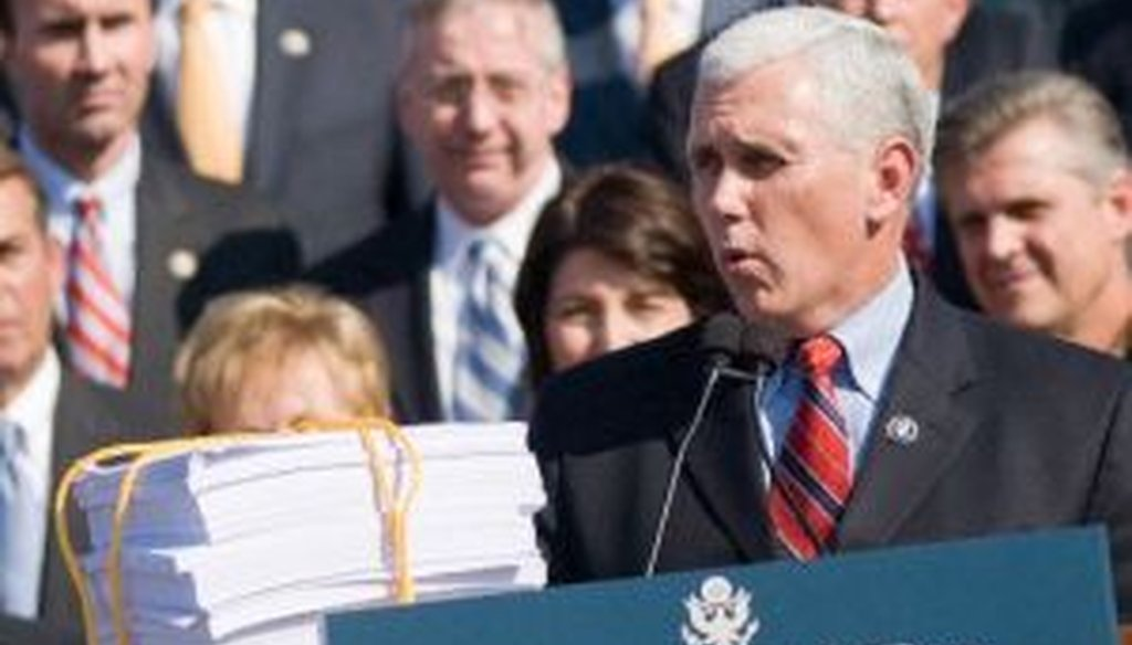U.S. Rep. Mike Pence formally announced on Thursday that he will not be running for president in 2012. We review his record on the Truth-O-Meter, including some of his attacks against the Democratic health care bill.