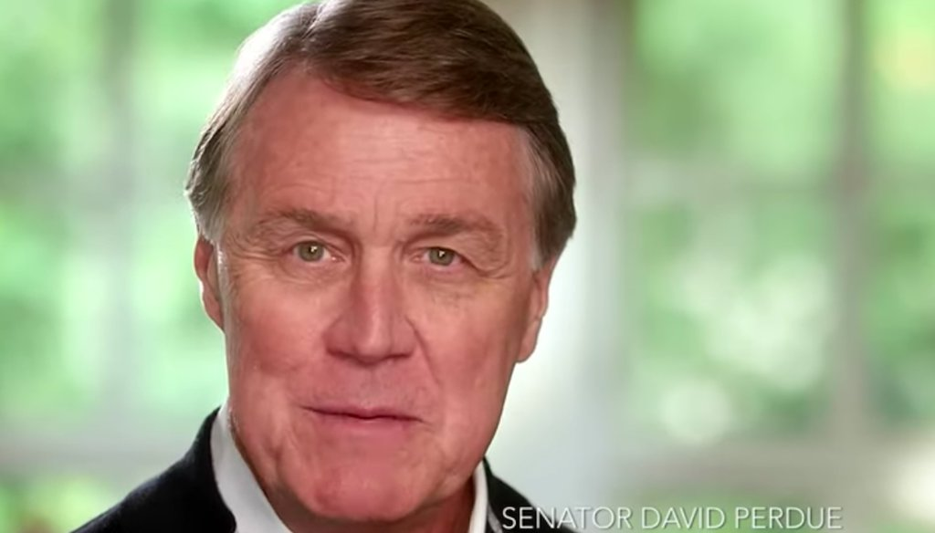 In a campaign ad, Sen. David Perdue, R-Ga., said he backs protections for people with preexisting conditions. (Screenshot)