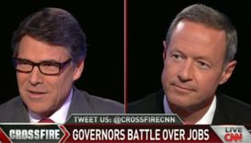 "Govs. Rick Perry of Texas and Martin O'Malley of Maryland faced off over job-creation policy on CNN's ""Crossfire."""