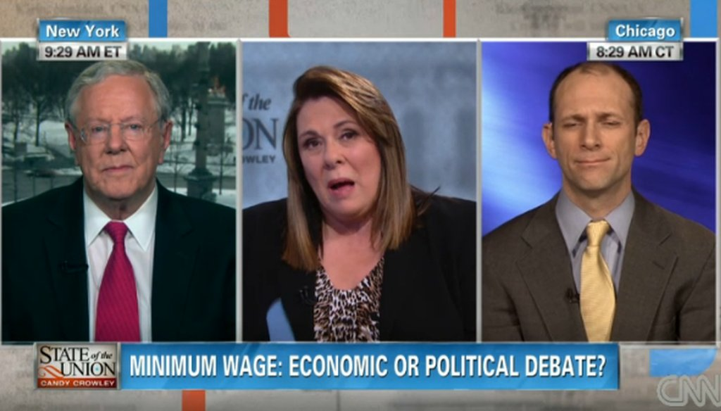 """Steve Forbes and Austan Goolsbee talked about the minimum wage on CNN's """"State of the Union"""" with host Candy Crowley."""
