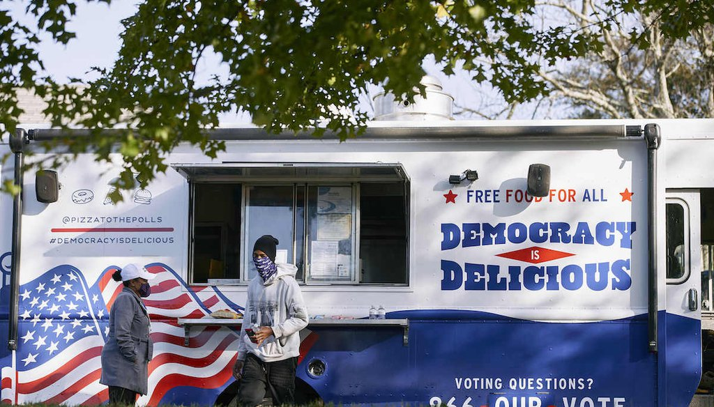Food trucks wait on site at local polling locations as long lines form on Election Day, Tuesday, Nov. 3, 2020, in Atlanta. (AP)