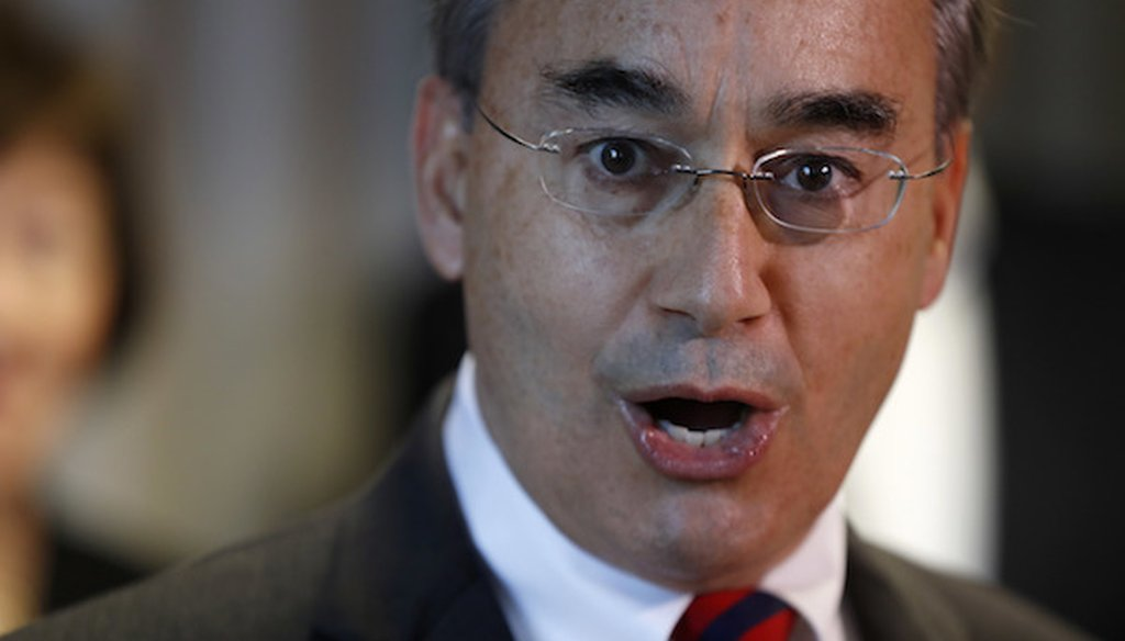 Rep. Bruce Poliquin, R-Maine, speaks at a news conference at Bath Iron Works in Bath, Maine, Friday, Sept. 29, 2017. (AP)