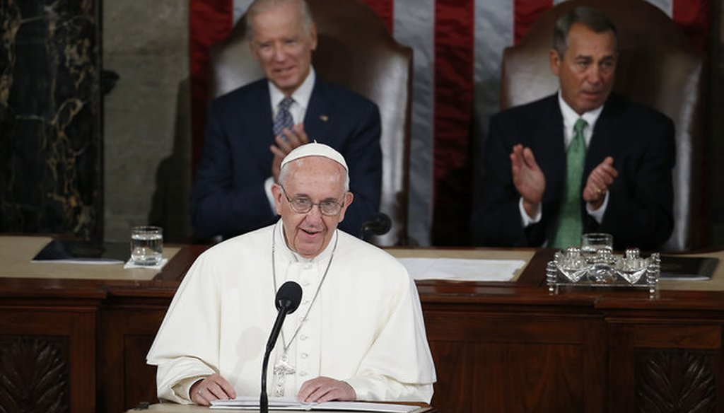Pope Francis addressed a joint meeting of Congress on Sept. 24, 2015. (AP photo)
