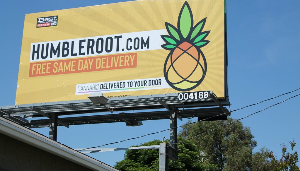 Colorful billboards advertising recreational pot, including this one in Sacramento, are popping up across California. Photo by Sami Soto / Capital Public Radio
