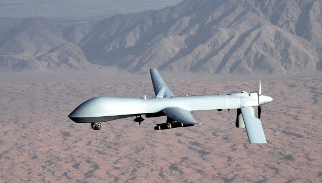 An MQ-1 Predator unmanned aircraft, which can be used to target terrorists overseas. (U.S. Air Force/Lt. Col. Leslie Pratt)