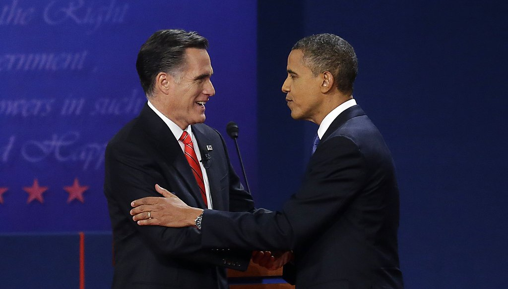 President Barack Obama and Republican presidential nominee Mitt Romney shake hands after their first debate in Denver.