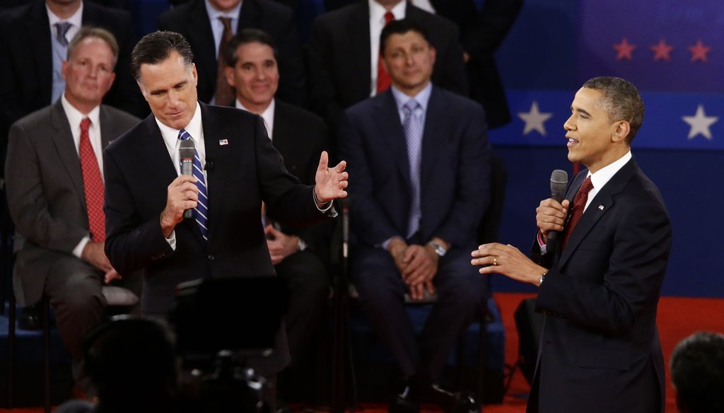 Republican presidential nominee Mitt Romney (left) and President Barack Obama (right) mix it up during the Oct. 16, 2012, debate in New York.