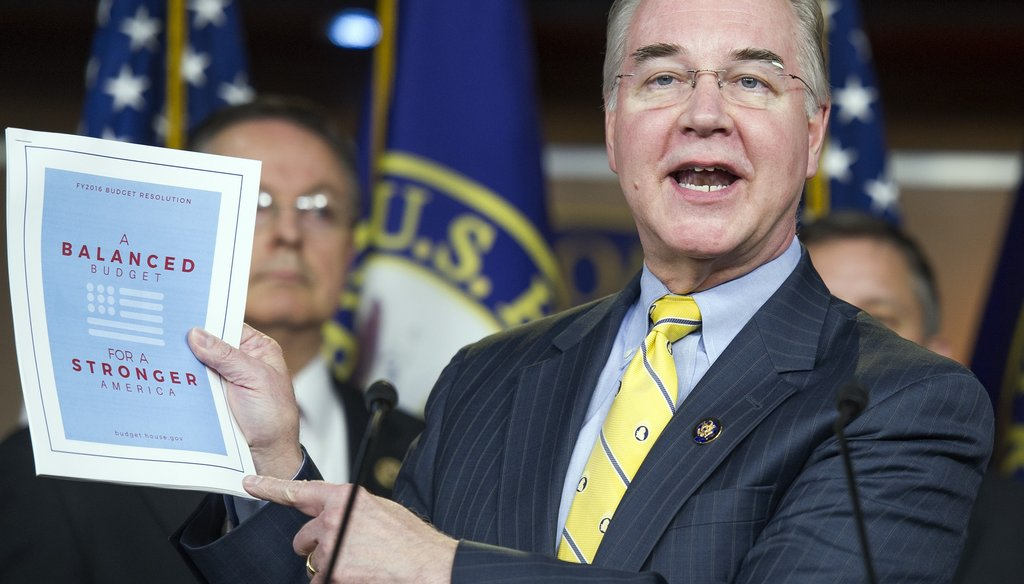 House Budget Committee Chairman Rep. Tom Price, R-Roswell, holds up his 2016 budget blueprint. File photo by the Associated Press