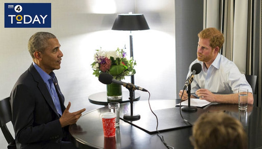 In this BBC handout photo former President Barack Obama is interviewed by Britain's Prince Harry for the BBC Radio 4 Today program that he guest edited. The program broadcast Dec. 27, 2017. (BBC Radio 4 Today/PA via AP)