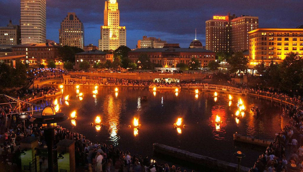 Providence, R.I. at night during a WaterFire celebration in 2014. The Providence Journal/Sandor Bodo