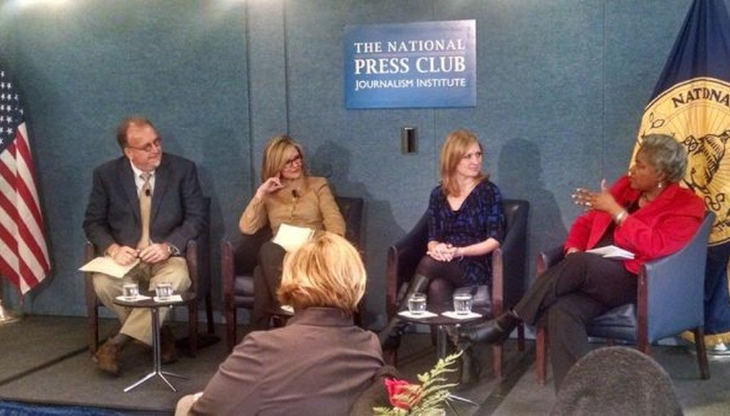 Poynter's Al Tompkins discusses PunditFact's first year with Kathleen Parker, Jackie Kucinich and Donna Brazile at the National Press Club on Feb. 10, 2015. (Photo/Louis Jacobson)