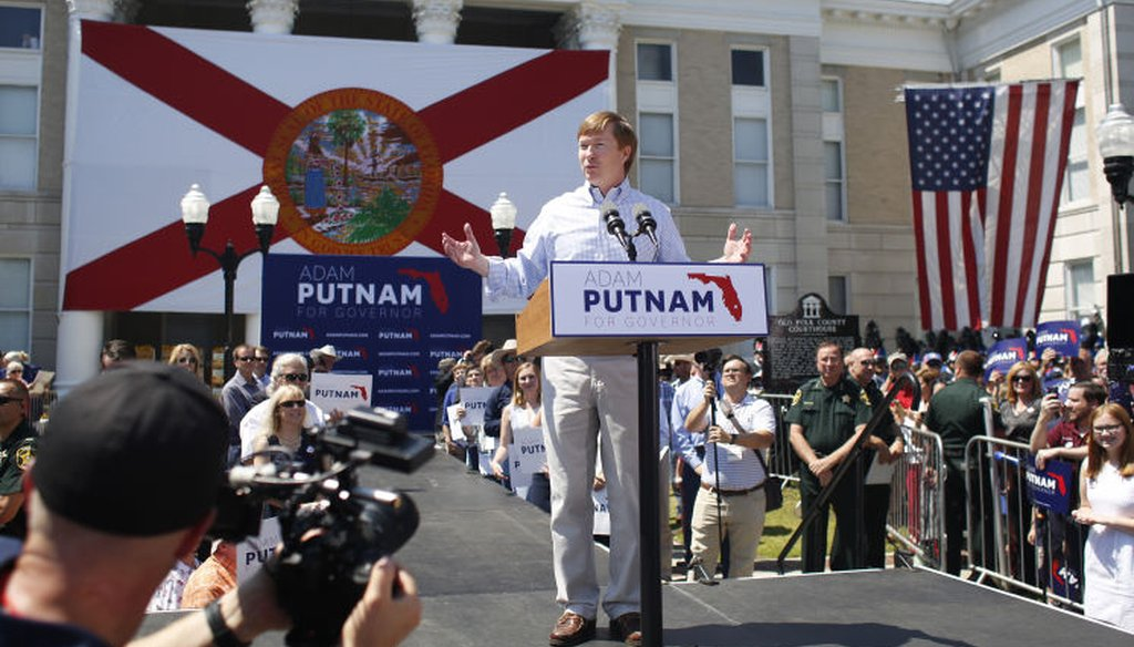 Florida Agriculture Commissioner Adam Putnam announced for governor at the old Polk County Courthouse in Bartow May 10, 2017. (Tampa Bay Times)