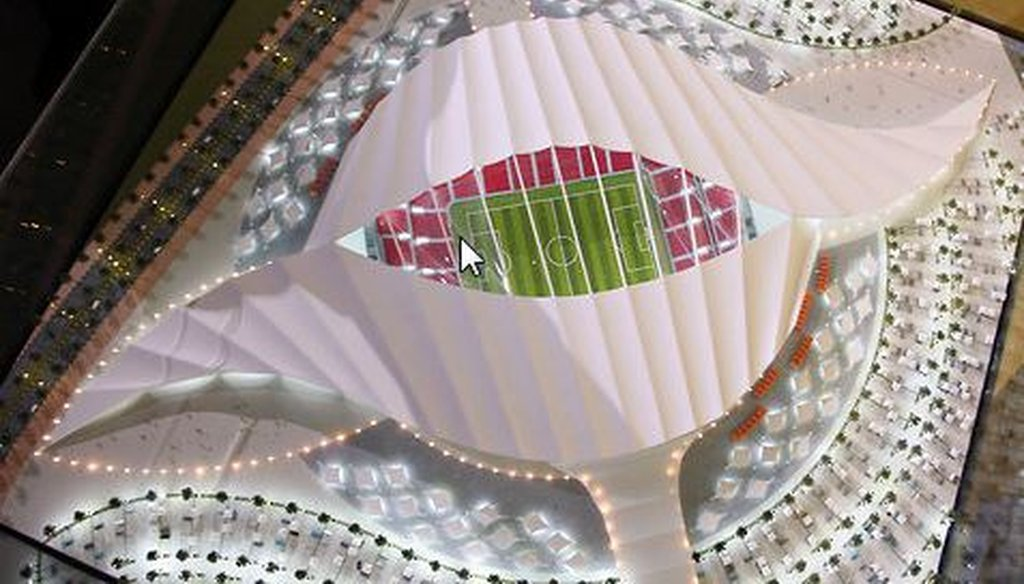 "A model of the Al-Khor Stadium in Doha, Qatar, which will be used for games during the 2022 World Cup. The stadium is nicknamed ""the seashell."""