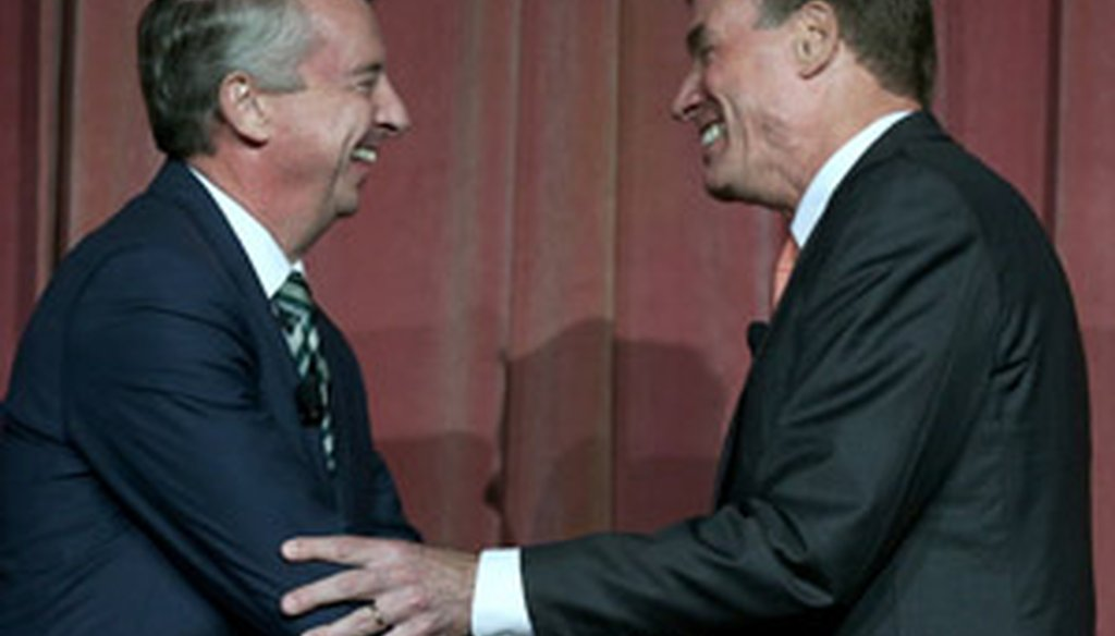 Ed Gillespie, left, and Mark Warner will debate at 7 p.m.