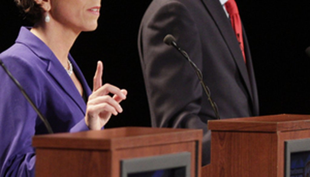 Democrats Gina Raimondo and Angel Taveras at the Aug. 26, 2014, Providence Journal-WPRI-TV debate. Credit: The Providence Journal / Kris Craig