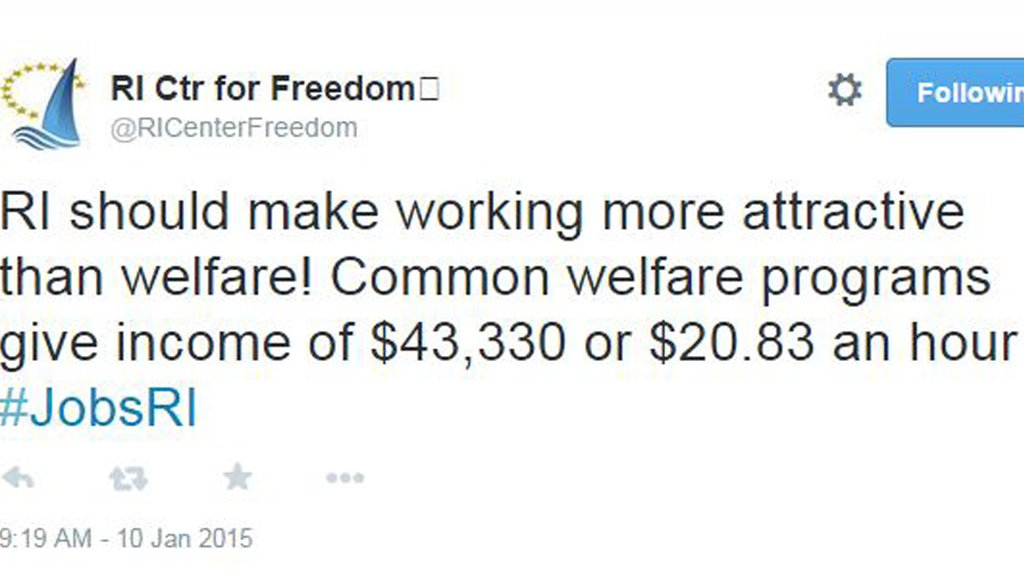 Tweet from the Rhode Island Center for Freedom and Prosperity