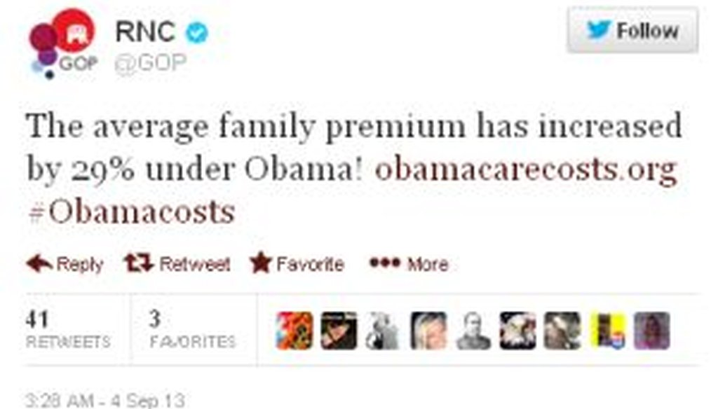 The Republican National Committee tweeted that health insurance premiums have risen by 29 percent under President Barack Obama. Is that correct?