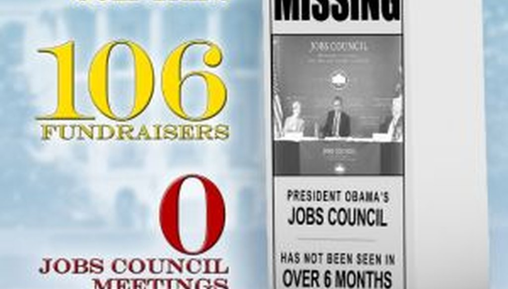 The Republican National Committee used a graphic and a video to blast President Barack Obama for spending more time golfing and fundraising than meeting with his jobs council.