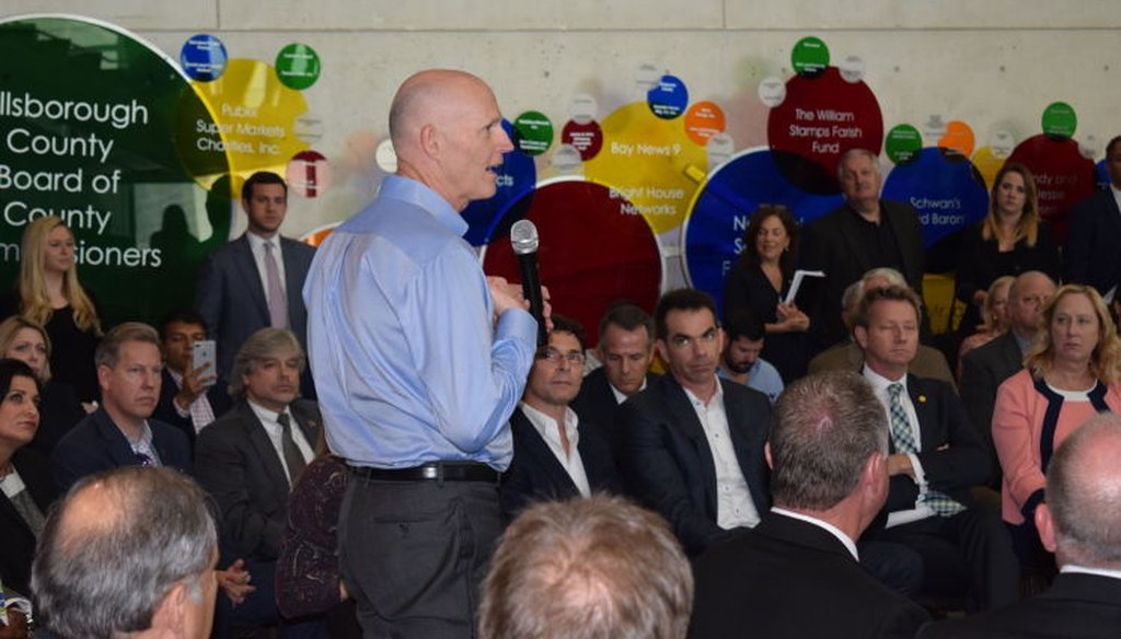 Gov. Rick Scott visited the Museum of Science and Industry Feb. 13, 2017 to defend funding Enterprise Florida and Visit Florida. (Photos courtesy of MOSI)