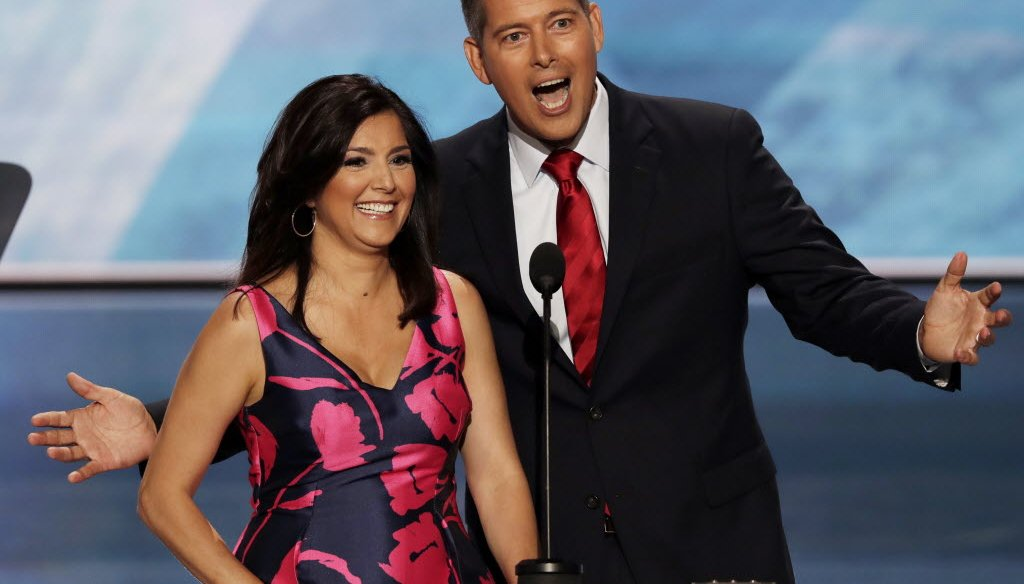 U.S. Rep. Sean Duffy, R-Wis., joined by his wife, Rachel Campos-Duffy, spoke on the first night of the 2016 Republican National Convention. (AP photo)
