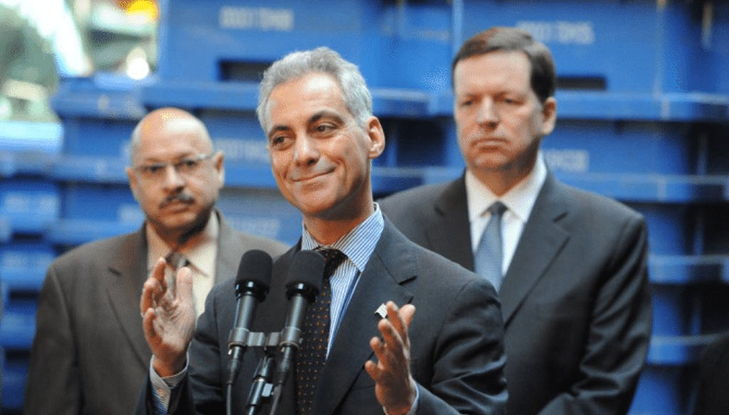 Chicago Mayor Rahm Emanuel at a press conference