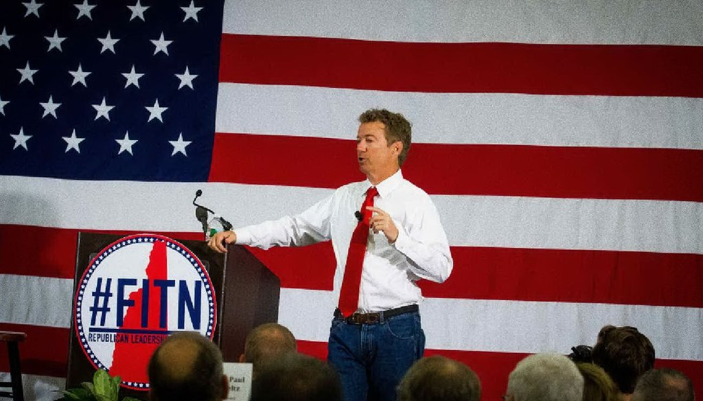 U.S. Senator Rand Paul, R-Ky., takes questions during the First in the Nation Summit in Nashua on Saturday, April 18, 2015. Photo by Elizabeth Franz