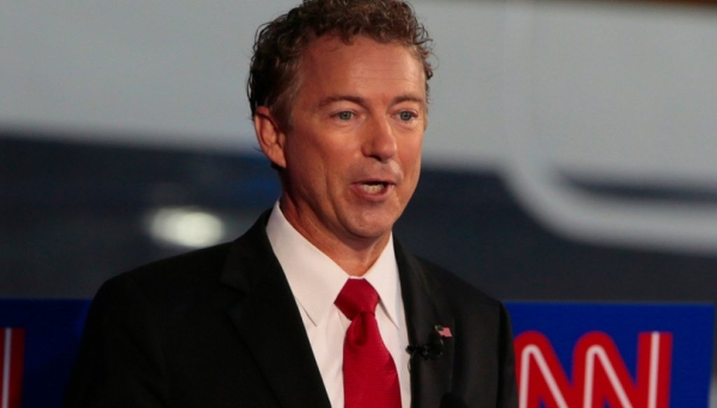 Republican presidential candidate Rand Paul on the debate stage at the Reagan Library in Simi Valley, Calif., on Sept. 16, 2015. (Robert Gauthier/Los Angeles Times/TNS)