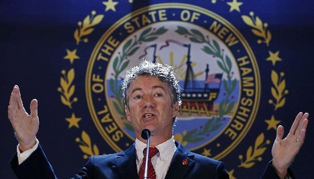 Sen. Rand Paul, R-Ky., speaks during a visit to New Hampshire on Sept. 12, 2014.