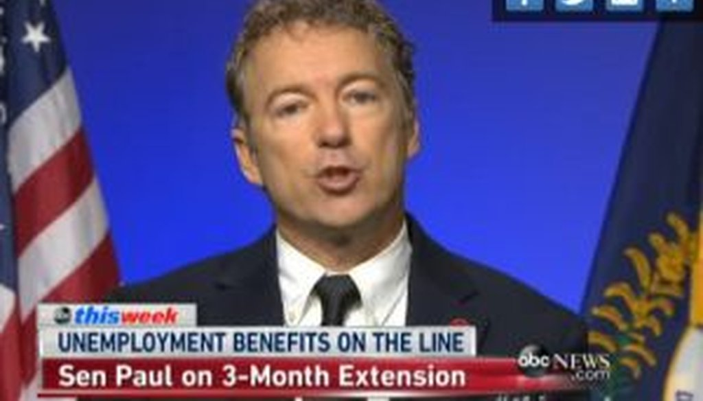 """Sen. Rand Paul, R-Ky., raised questions about the effectiveness of extended unemployment benefits during an appearance on ABC's """"This Week with George Stephanopoulos."""""""
