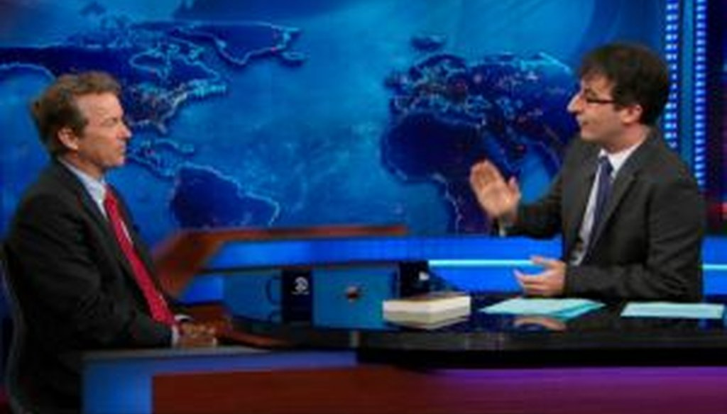 """Sen. Rand Paul, R-Ky., discussed health insurance policy with John Oliver on """"The Daily Show."""""""