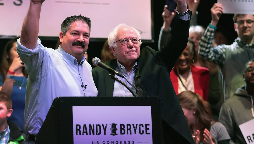 U.S. Sen. Bernie Sanders (right), I-Vt., a 2016 Democratic candidate for president, came to Racine, Wis., in February 2018 to campaign for Democrat Randy Bryce, a candidate for the U.S. House seat held by GOP House Speaker Paul Ryan. (Getty Images)