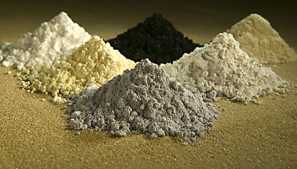 Rare earth elements, clockwise from top left: gadolinium, praseodymium, cerium, lanthanum, neodymium and samarium. (Wikimedia Commons)