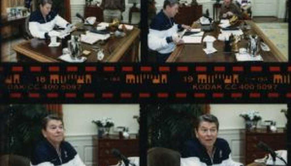 Ronald Reagan, shown in casual wear while preparing to give his Saturday radio address, in excerpts from a contact sheet made by an official White House photographer on March 19, 1988.