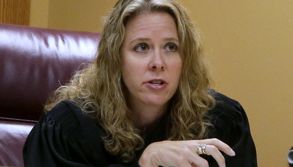 Wisconsin Supreme Court Justice Rebecca Bradley, shown here hearing a case when she was a state appeals court judge, has been criticized for deciding as an attorney to represent a former boyfriend in a family law case. (Rick Wood photo)