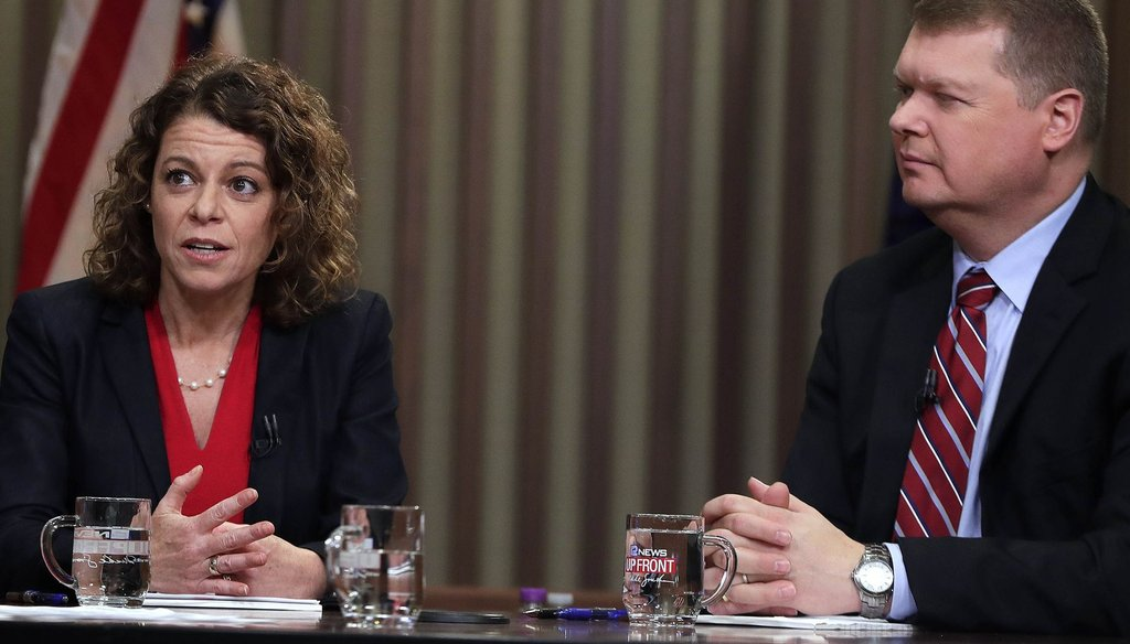 Judges Rebecca Dallet, who appeals to liberals, and Michael Screnock, who appeals to conservatives, participated in their first one-on-one debate about a month ahead of the 2018 election for Wisconsin Supreme Court. (Rick Wood/Milwaukee Journal Sentinel)