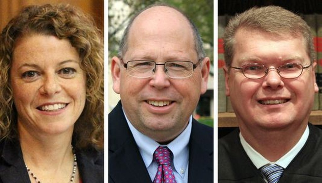 The 2018 candidates for a seat on the Wisconsin Supreme Court are (from left) Milwaukee County Circuit Judge Rebecca Dallet, Madison attorney Tim Burns and Sauk County Circuit Judge Michael Screnock.